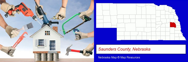 home improvement concepts and tools; Saunders County, Nebraska highlighted in red on a map
