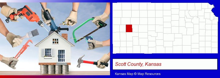 home improvement concepts and tools; Scott County, Kansas highlighted in red on a map