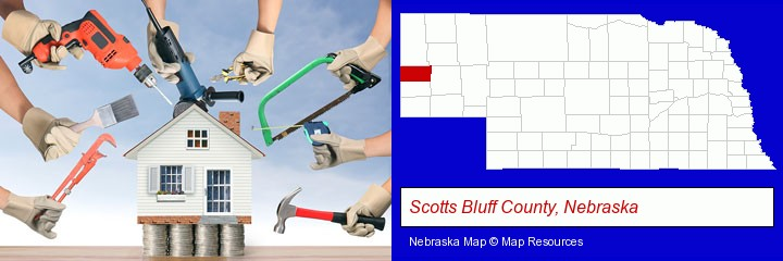 home improvement concepts and tools; Scotts Bluff County, Nebraska highlighted in red on a map