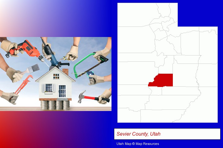 home improvement concepts and tools; Sevier County, Utah highlighted in red on a map