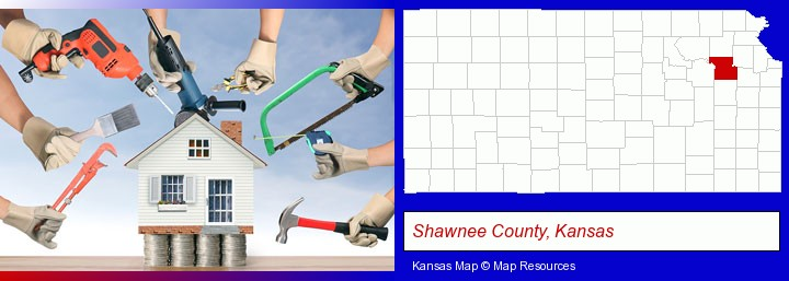 home improvement concepts and tools; Shawnee County, Kansas highlighted in red on a map
