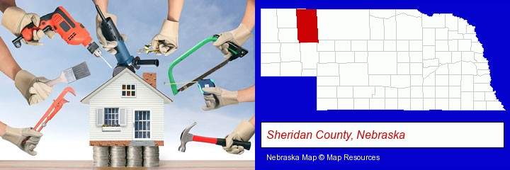 home improvement concepts and tools; Sheridan County, Nebraska highlighted in red on a map