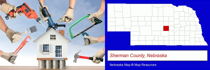 home improvement concepts and tools; Sherman County, Nebraska highlighted in red on a map