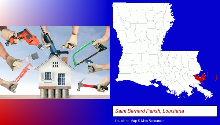 home improvement concepts and tools; Saint Bernard Parish, Louisiana highlighted in red on a map