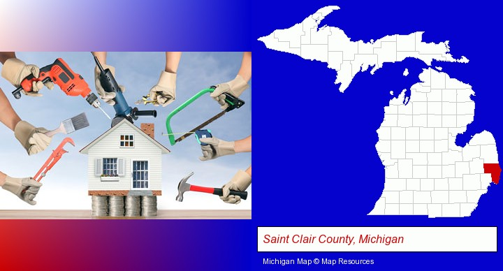 home improvement concepts and tools; Saint Clair County, Michigan highlighted in red on a map