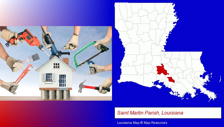 home improvement concepts and tools; Saint Martin Parish, Louisiana highlighted in red on a map