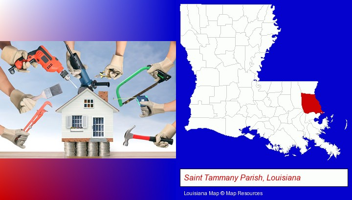 home improvement concepts and tools; Saint Tammany Parish, Louisiana highlighted in red on a map
