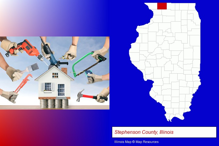 home improvement concepts and tools; Stephenson County, Illinois highlighted in red on a map