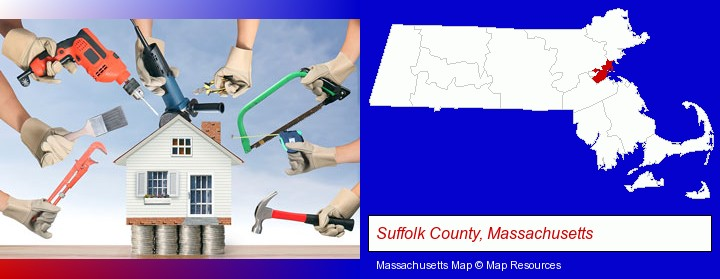 home improvement concepts and tools; Suffolk County, Massachusetts highlighted in red on a map