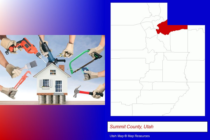 home improvement concepts and tools; Summit County, Utah highlighted in red on a map