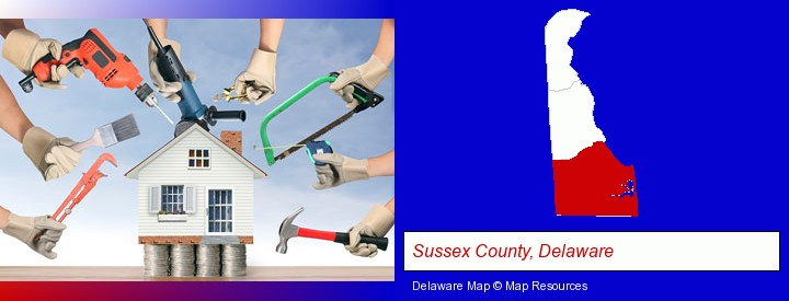 home improvement concepts and tools; Sussex County, Delaware highlighted in red on a map
