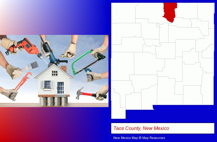 home improvement concepts and tools; Taos County, New Mexico highlighted in red on a map