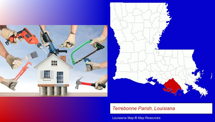 home improvement concepts and tools; Terrebonne Parish, Louisiana highlighted in red on a map