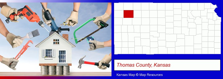 home improvement concepts and tools; Thomas County, Kansas highlighted in red on a map