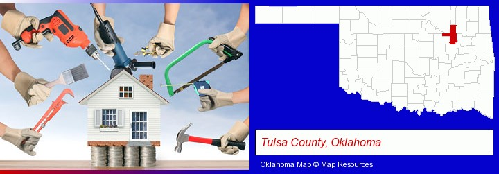 home improvement concepts and tools; Tulsa County, Oklahoma highlighted in red on a map