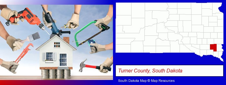 home improvement concepts and tools; Turner County, South Dakota highlighted in red on a map
