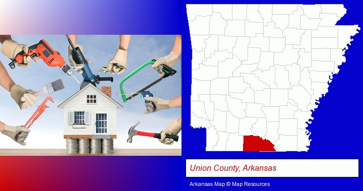 home improvement concepts and tools; Union County, Arkansas highlighted in red on a map