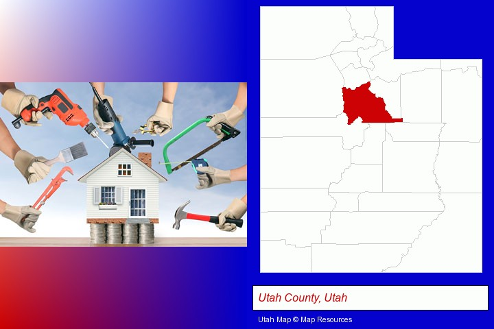 home improvement concepts and tools; Utah County, Utah highlighted in red on a map