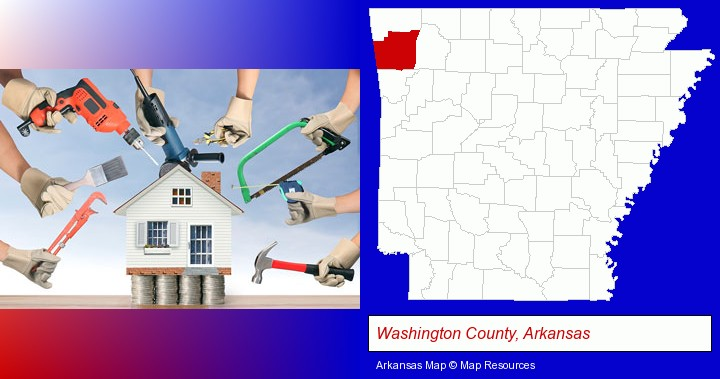 home improvement concepts and tools; Washington County, Arkansas highlighted in red on a map