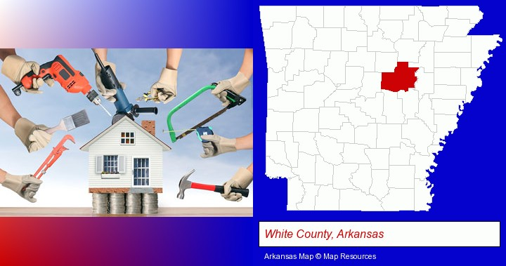 home improvement concepts and tools; White County, Arkansas highlighted in red on a map