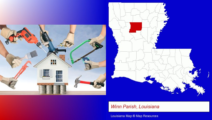 home improvement concepts and tools; Winn Parish, Louisiana highlighted in red on a map