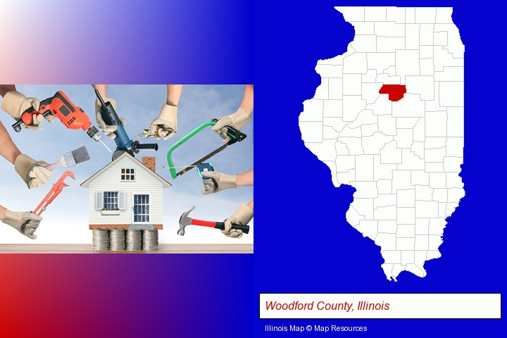 home improvement concepts and tools; Woodford County, Illinois highlighted in red on a map