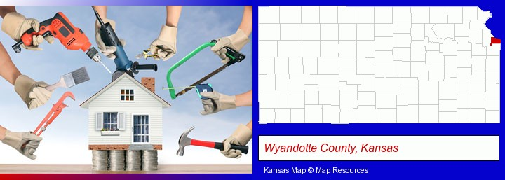 home improvement concepts and tools; Wyandotte County, Kansas highlighted in red on a map