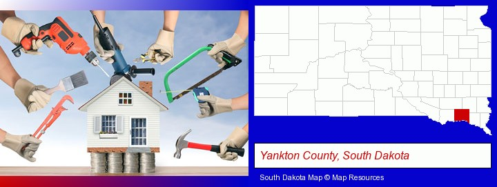 home improvement concepts and tools; Yankton County, South Dakota highlighted in red on a map