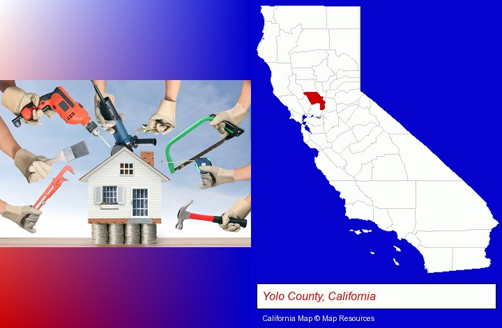 home improvement concepts and tools; Yolo County, California highlighted in red on a map